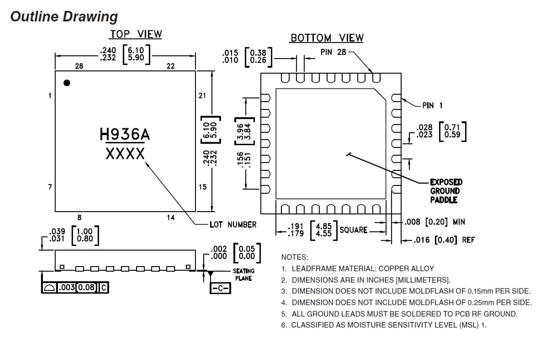 analog devices hmc936alp6e 芯片, 数字式移相器, 1.2-1.4ghz, smd28