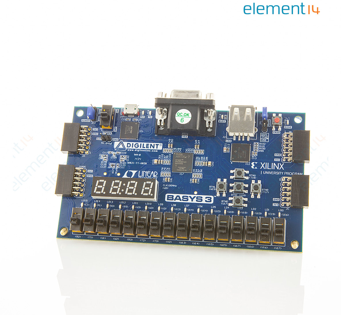 Development Board, Basys 3 Artix-7 FPGA, 7-Segment Display, 16 User  Switches, 16 User LED'S