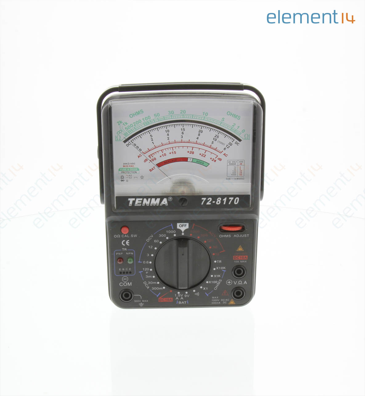 72 8170 Tenma Analog Multimeter 06v To 1000v 12v Quot Stereo Phone Plug Further Digital Circuit Diagram 1ohm 10kohm 120a 10a Manual