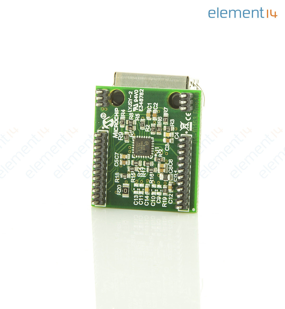 Ac320004 3 Microchip Daughter Board 10base T 100base Tx Ethernet Green Electrical Circuit With Microchips And Transistors Stock