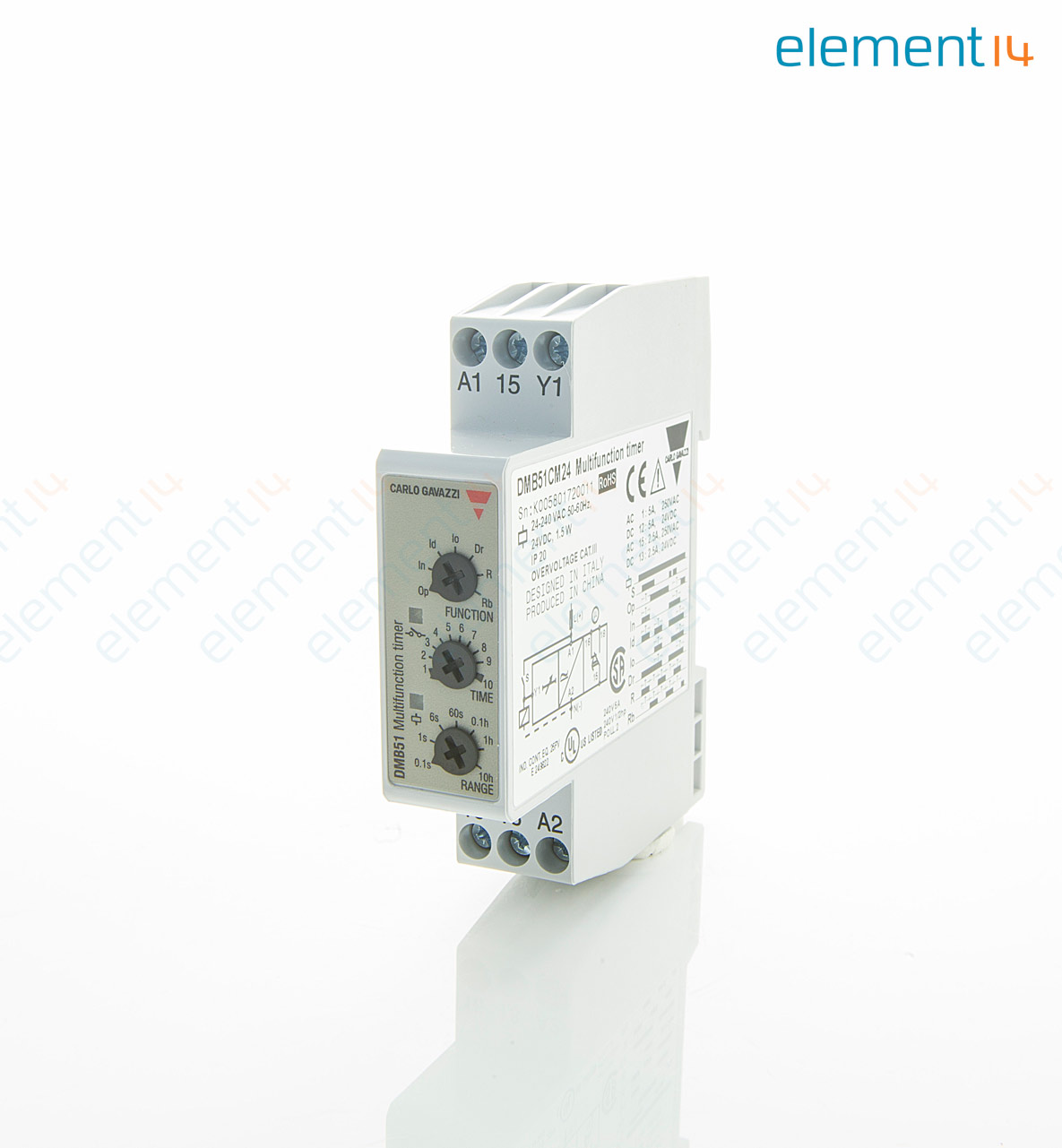 Power Changeover Relay Dmb51cm24 Carlo Gavazzi Analog Timer Dmb51 Series Multifunction 01 S 100 H 7 Ranges 1
