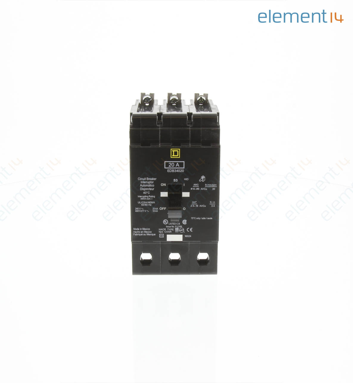 Edb34020 Square D By Schneider Electric Thermal Magnetic Circuit Off Miniature Breaker Module View Edb Series 20 A 3 Pole 277 Vac Bolt On