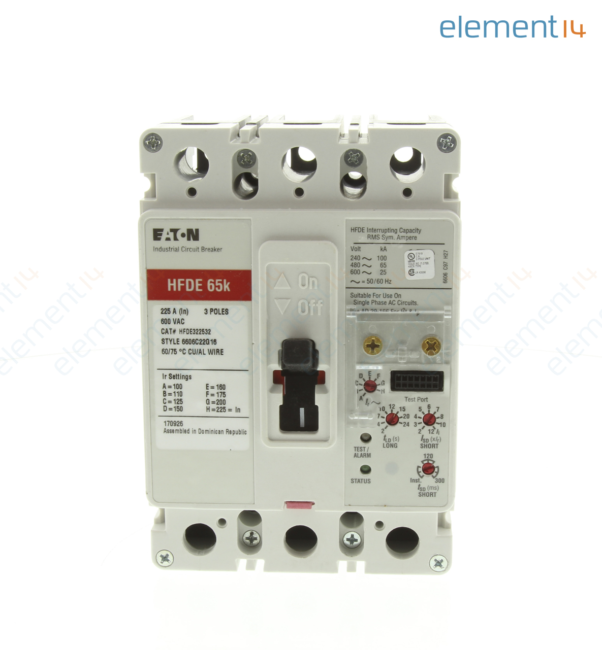 Hfde322532 Eaton Cutler Hammer Electronic Circuit Breaker Fd Adding A New Requires Another Frame Type Hfde C Series 225 3 Pole 600 V Din Rail Panel