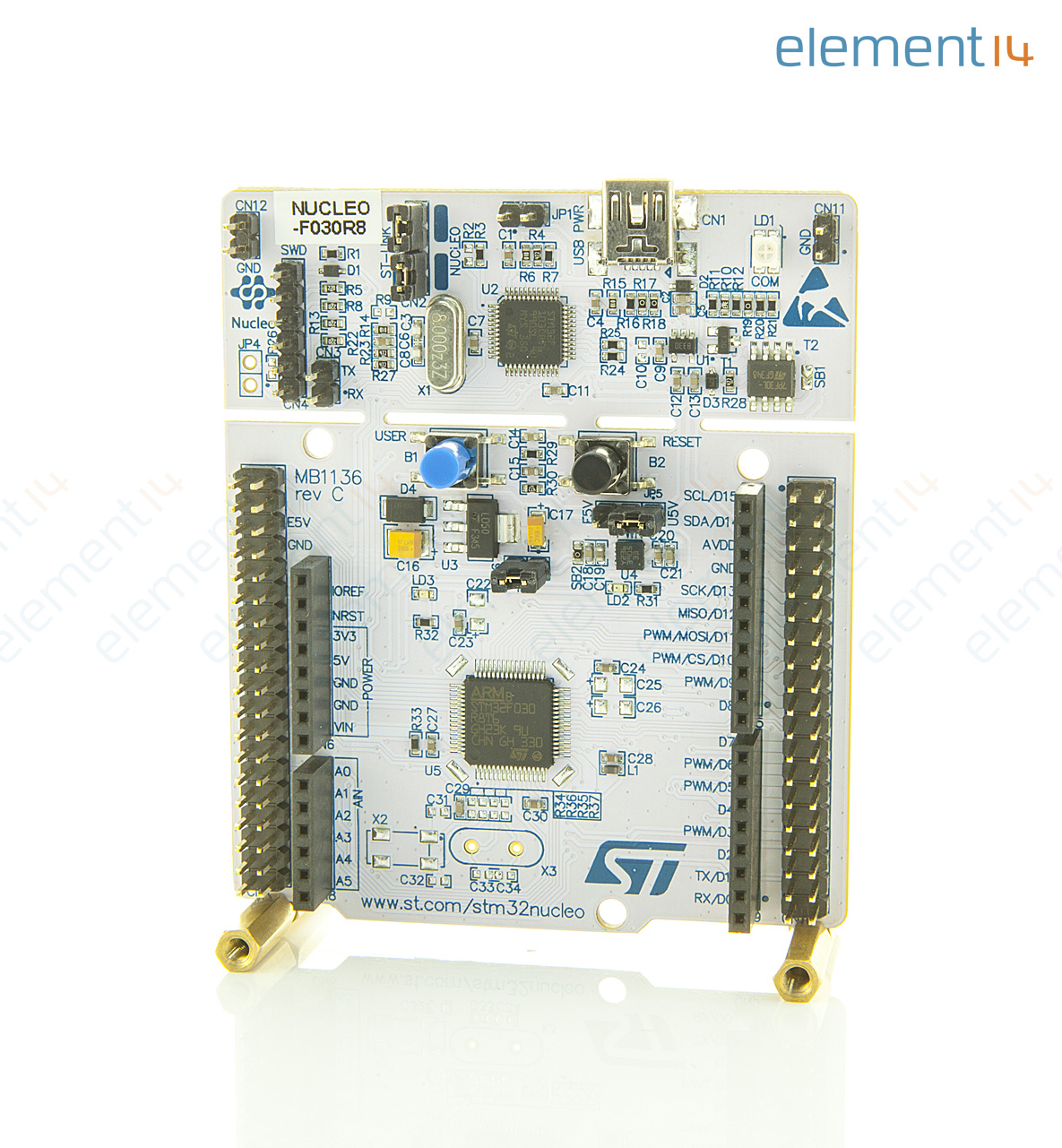 Nucleo F030r8 Stmicroelectronics Development Board Stm32 64 By Arduino Low Powered Solenoid Driver Hobby For The Hobbies Stm32f030r8t6 Mcu And St Morpho Connectivity