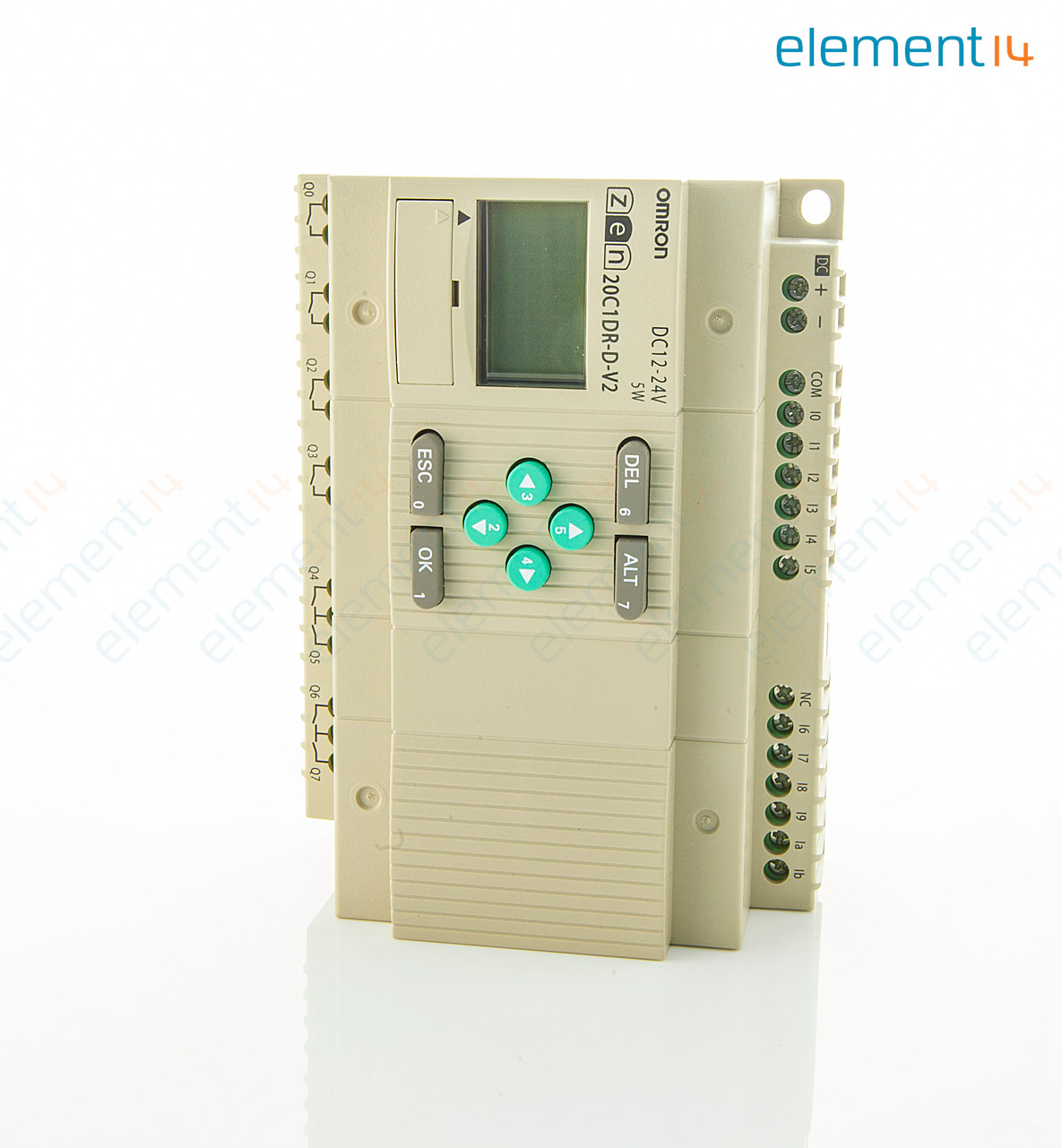 PLC, ZEN Series, Standard, 12 Inputs, 8 Relay Outputs, 12 to 24 Vdc, LCD  Display