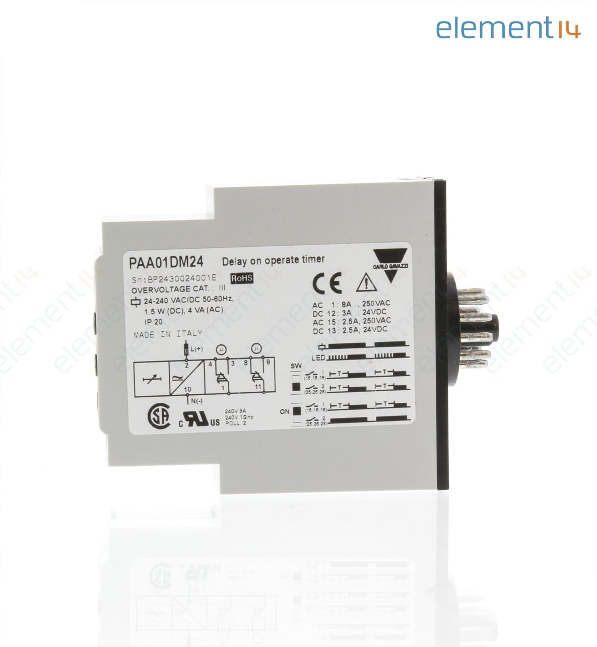 Paa01dm24 Carlo Gavazzi Analog Timer Multi Voltage Paa01 Series Np Sensor Tester Wiring Diagram Add To Compare