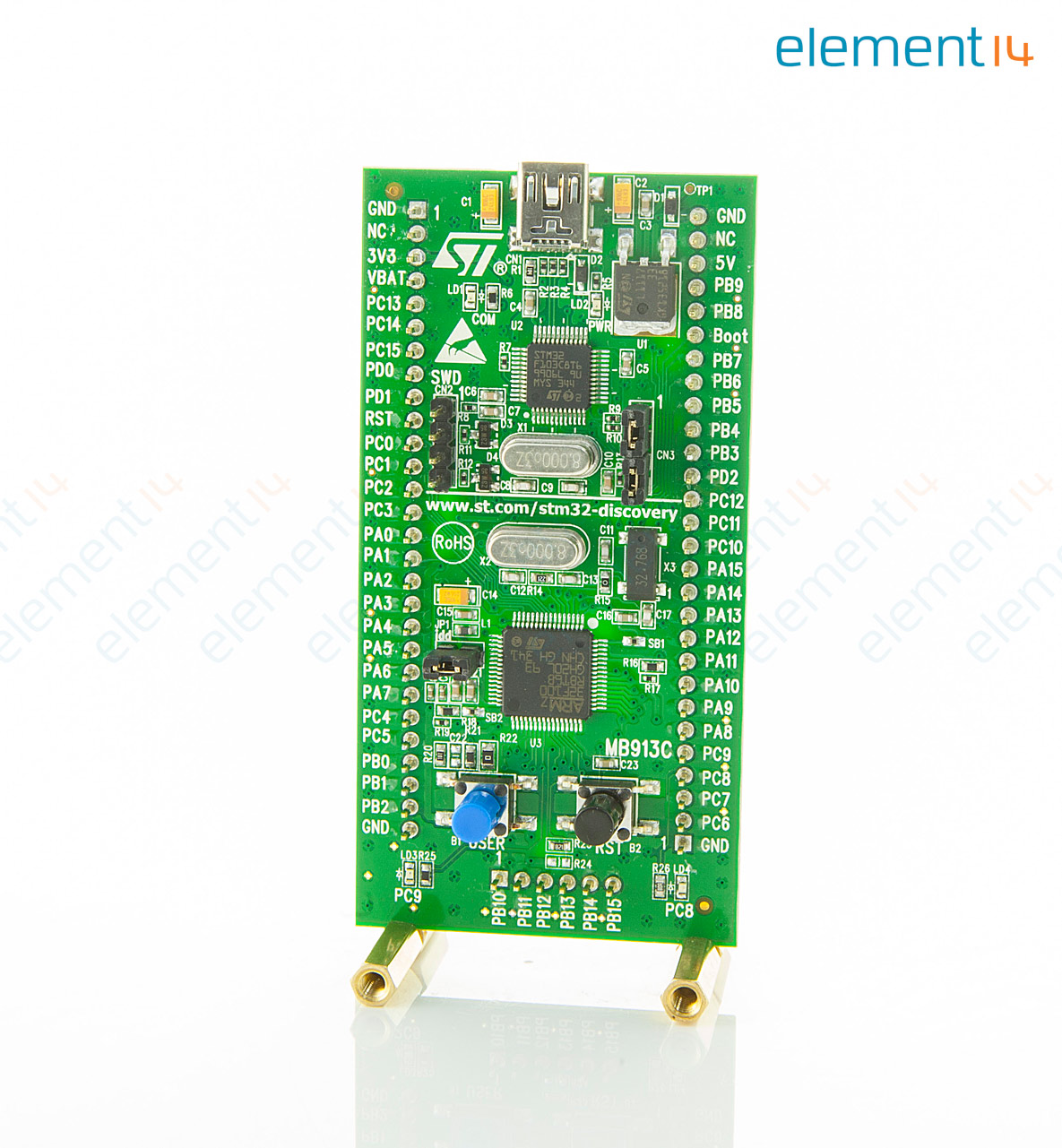 Stm32vldiscovery Stmicroelectronics Development Kit Stm32f100rb 2014 Embedded Systems Pic Microcontrollers Solar System 21 Comments Mcu On Board St Link With Selection Mode Switch Extension Header